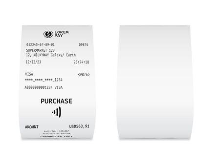 Paper check from shop. Template of a curled supermarket receipt Ilustrace