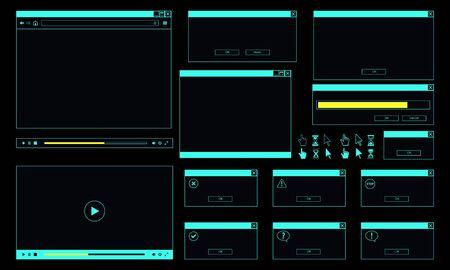 Neon theme of desktop user interface. Web browser window, online video player, error message and computer cursor.
