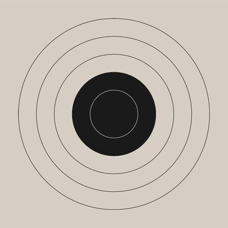Vintage template of the round shooting target for a gun range