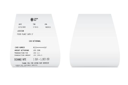 Blank white paper shop check. Template of a bill from supermarket of restaurant Ilustrace