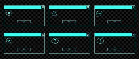 Glowing neon UI set of the error messages and system dialog boxes Ilustrace