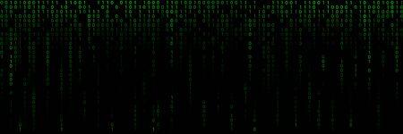 Fond vert avec des lignes d'un code binaire