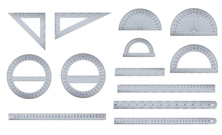 Set of engineer or architect aluminium drafting protractor, ruler and triangle with a metric and an imperial units scales