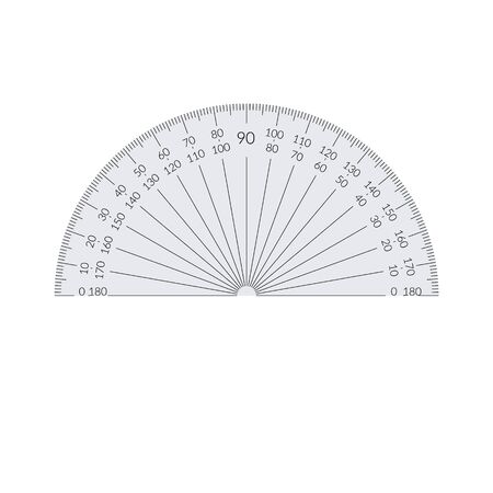 Paper circular protractor with a 180 degree scale
