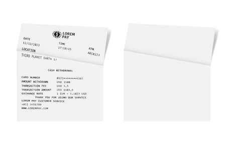 Template of a check from a shop or supermarket or restaurant. White cashier receipt Çizim