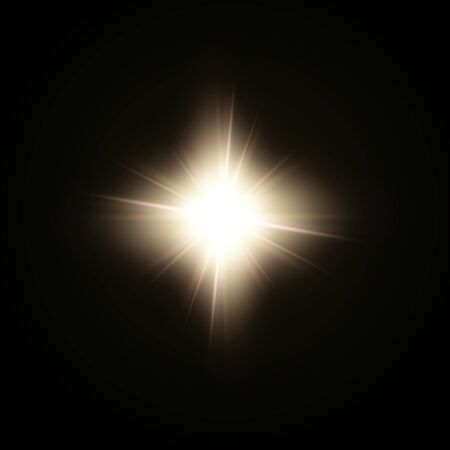 Sunlight or lens flare glowing light from a camera shooting burst of a star Vector Illustration