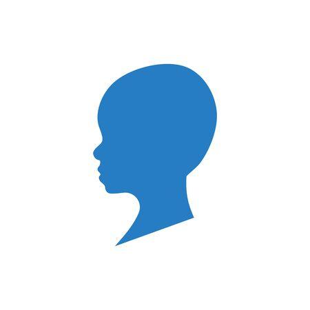 Seitenansicht Silhouette des Kopfes eines kahlen Kleinkindes.