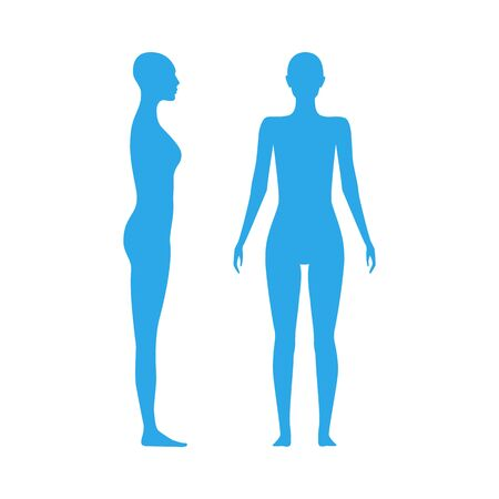 Front and side view human body silhouette of an adult female Vettoriali