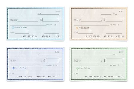 Blank template of the bank cheque. Checkbook check page with an empty fields to fill