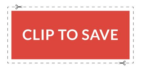 Clip to save. Coupon with a dotted cut line frame
