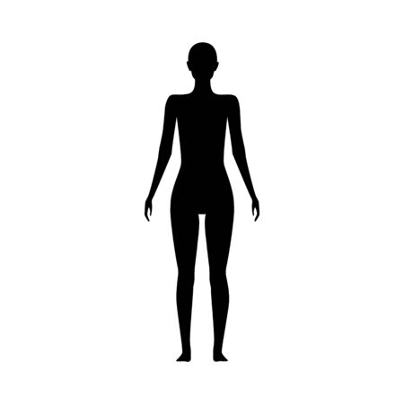 Front view human body silhouette of an adult female. Illustration