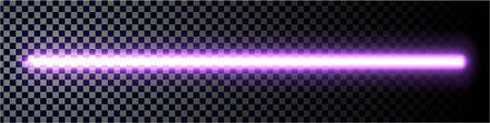 Neon glow stick. Fluorescent laser ray. Beam of light.