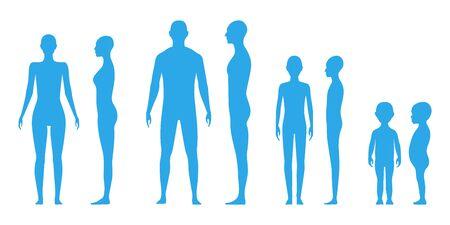 Vue de face et de côté silhouette du corps humain d'un homme adulte, d'une femme, de genre neutre, d'un adolescent et d'un enfant en bas âge