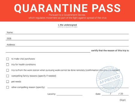 Personal admission form during the quarantine restriction measures