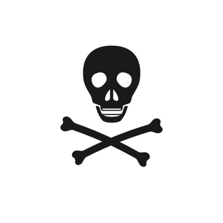 Poison danger icon. Skull and crossbones death symbol