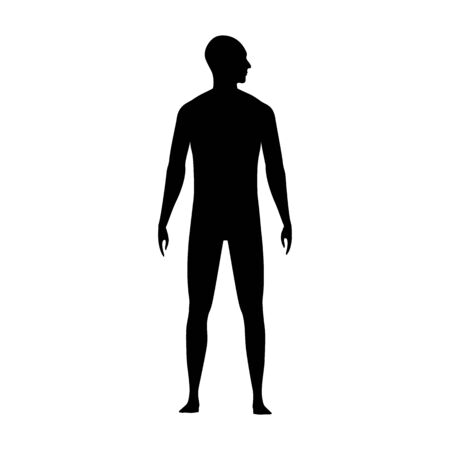 Front view human body silhouette of an adult male with a head turned to side.