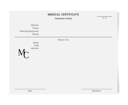 Medical certificate template. Blank form of a health examination results Illustration