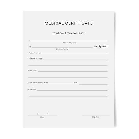 Formulario de certificado médico. Plantilla de almohadilla de licencia por enfermedad. Ilustración de vector