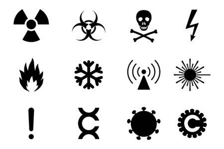 Abwechslungsreiche Gefahren- und Gefahrensymbole. Einfache Ikonen einer gemeinsamen Gefahr