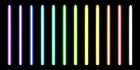 Glowing neon sticks. Fluorescent beams of laser light