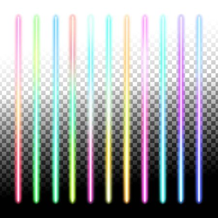Fluorescent sticks. Glowing iridescent neon lights for both light and dark backgrounds.