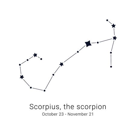 Scorpius, the scorpion. Constellation and the date of birth range. Иллюстрация