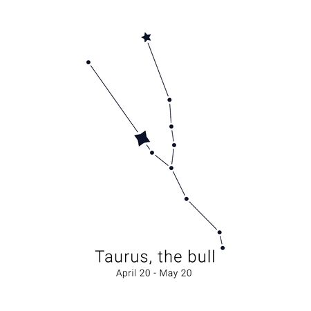 Taurus, the bull. Constellation and the date of birth range. Иллюстрация