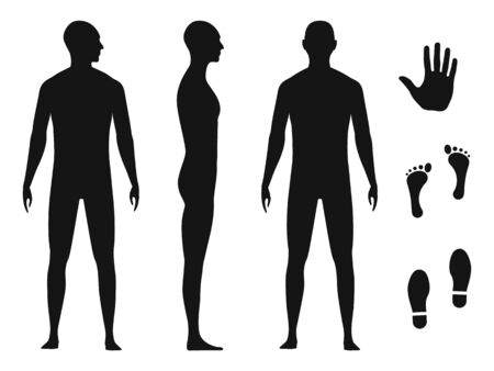 Human body silhouette of a bald naked barefoot adult male. Palm hand, bare feet and shoe trace.