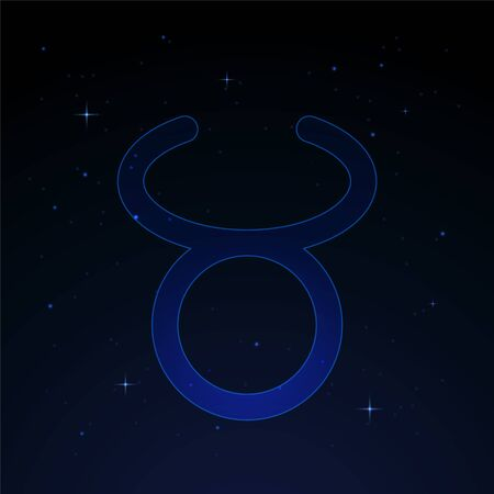 Taurus, the bull zodiac sign on the starry night sky. Banco de Imagens - 147859800