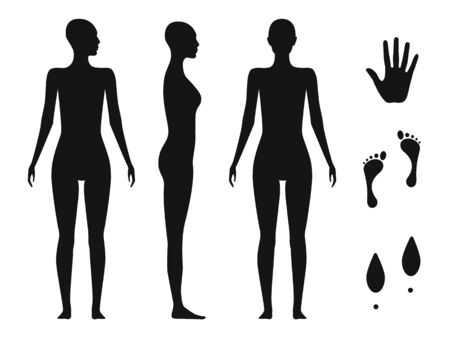 Human body silhouette of a bald naked barefoot adult female. Palm hand, bare feet and shoe trace.