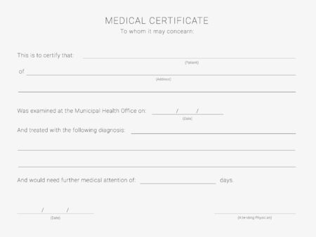 Medical certificate template. Blank form of a health examination results Illusztráció