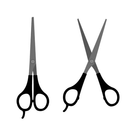 Hairdresser scissors flat icon. Open and closed hair cut tool.