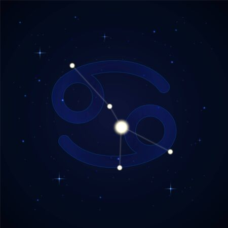 Cancer, the crab. Constellation and zodiac sign on the starry night sky. Ilustração