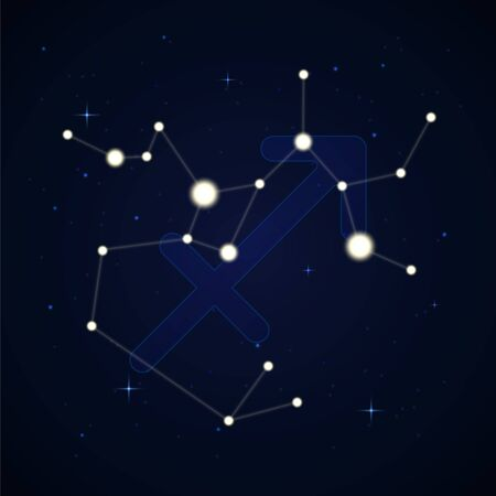 Sagittarius, the archer. Constellation and zodiac sign on the starry night sky. Banco de Imagens - 149993777