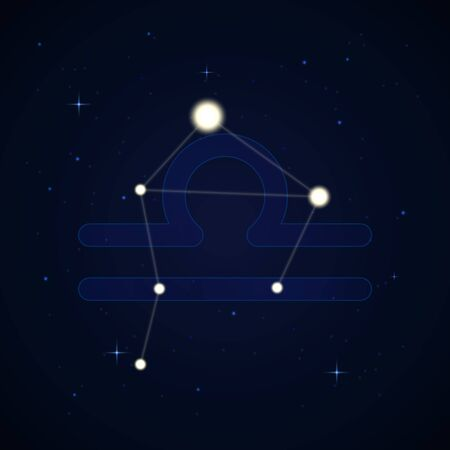 Libra, the scales. Constellation and zodiac sign on the starry night sky. Иллюстрация