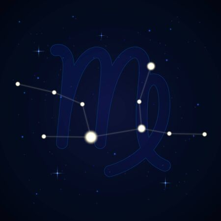 Virgo, the virgin. Constellation and zodiac sign on the starry night sky.