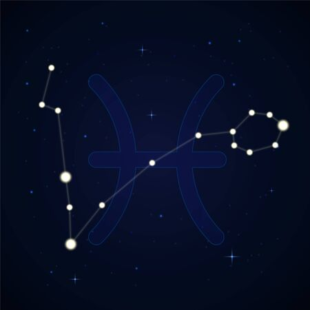 Pisces, the fishes. Constellation and zodiac sign on the starry night sky.