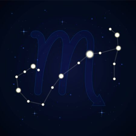 Scorpius, the scorpion. Constellation and zodiac sign on the starry night sky. Иллюстрация