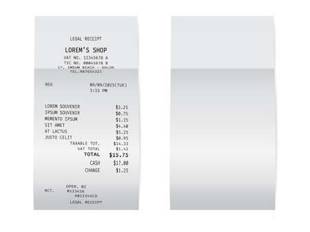 Template of a check from a shop or supermarket or restaurant. White cashier receipt Ilustração