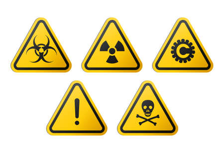 Triangular signs of a hazard warnings : biohazard, ionizing radiation, coronavirus, poison and generic danger.