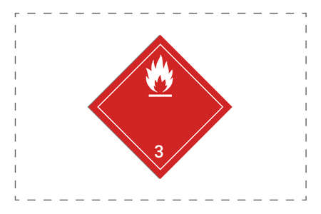 Combustible substance label. Visual indication of the type and level of hazard