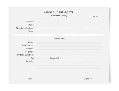 Medical certificate template. Health diagnostic prescription form