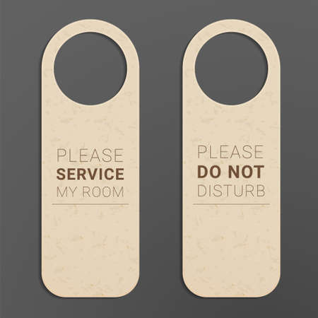 Please do not disturb door hanger. Servicing label for hotel rooms.