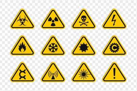 Rounded triangular signs of a hazard warnings. Triangular signs with varied danger symbols
