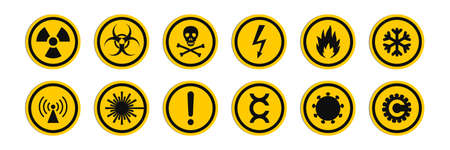 Circular signs of a hazard warnings. Round signs with varied danger symbols