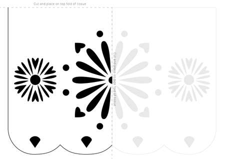 Papel picado stencil template. Dia de Muertos banner blueprint.