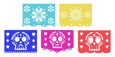 Mexican bunting papel picado for the Day of the Dead decoration Banco de Imagens - 152354631