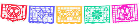 Seamless panoramic banner for the Day of the Dead decorations. Mexican Dia de Muertos papel picado
