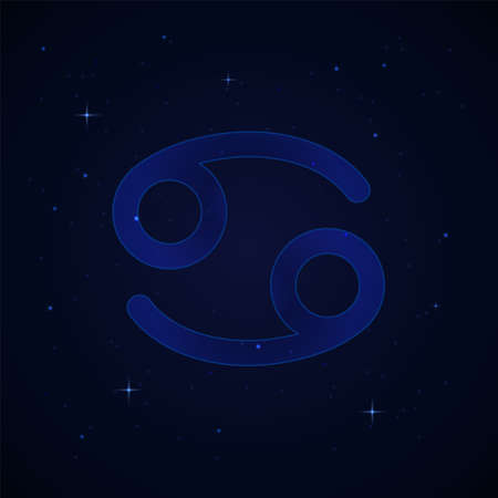 Cancer, the crab zodiac sign on the starry night sky. Иллюстрация