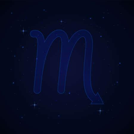 Scorpius, the scorpion zodiac sign on the starry night sky.